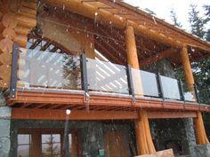 log home glass deck railing - Google Search