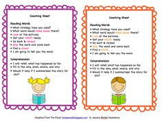 Coaching Sheet for Partner Reading FREEBIE