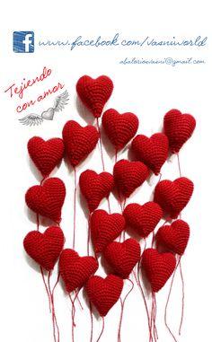 Corazones de crochet  www.facebook.com/vasniworld