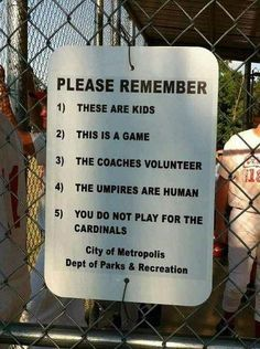 Rules for parents with kids who play baseball. Ha.