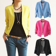 Fashion Womens Slim Candy Color Business Blazer Casual Jacket Suit Coat Outwear #UnbrandedGeneric #DressSuit