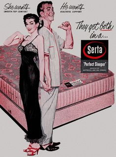 They get both… detail from 1956 Serta Mattress ad. #vintage #1950s #couple #ads