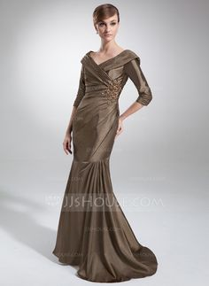 Trumpet/Mermaid Off-the-Shoulder Sweep Train Taffeta Mother of the Bride Dress With Ruffle Beading Appliques Lace (008006470)