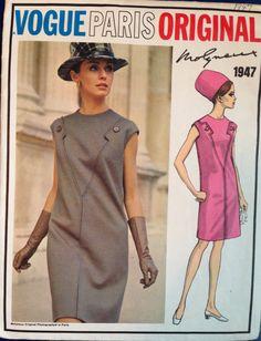 Vintage 60s Vogue Paris Original Dress Pattern Mod Molyneux