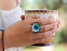 One of a kind turquoise and brown ceramic ring - Ceramics By Orly This ceramic ring is an eye-catching, electric look that dances with you.