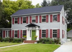 Best Gray House Bright Red Door Navy Blue Shutters Charcoal 400 x 300