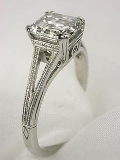 asscher cut diamond in art deco setting