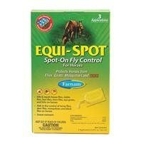 EQUI SPOT FLY CONTROL (Catalog Category: Equine Fly Control:FLY & INSECT CONTROL) by FARNAM COMPANIES INC. $28.28. Spot-on fly control for horses. Kills and repels house flies, stable flies, horn flies, eye gnats, and ticks. Helps control horse flies, deer flies, mosquitoes and black flies (3 tubes to a pack)/don t let product get in eyes, or muco. Do not use on horses under 12 weeks of age. Usage:1 tube(10.0ml) . Ml along back line to base of tail.