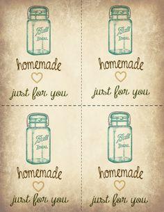 Ball Jar Printable Gift Labels - homemade just for you. Gift Labels, Jar Labels, Candy Labels, Spice Labels, Free Printable Gift Tags, Free Printables, Mason Jar Crafts, Mason Jars, Canning Jars