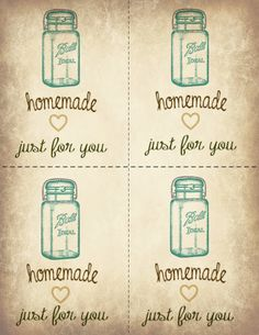 Ball Jar Printable Gift Labels - homemade just for you.