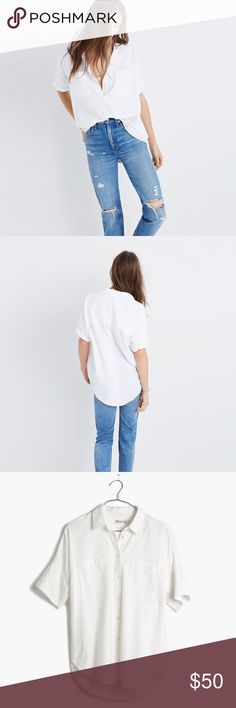 Madewell courier Perfectly oversized, slightly boxy shirt in weighty wear-it-anywhere white cotton. This beloved short-sleeve button-down is effortlessly cool—and so very versatile. Oversized fit. Cotton twill. Machine wash. In great condition. Madewell Tops Button Down Shirts
