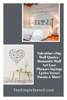 Hundreds of wall decal designs to add a romantic touch to your master bedroom decor. Easy to install, looks painted on but 100% removable when you're ready for a change. Customize your favorite phrase online to match your decor and space perfectly. Preview before you buy. High quality materials, made in the USA, since 2002. Satisfaction guaranteed. #walldecor #decals #valentinesday #vday #valentinesdaygifts #romanticgifts #romanticdecor #romanticbedrooms #giftideas #roomdecor #walldecor… Master Bedroom, Bedroom Decor, Vinyl Wall Quotes, Love Phrases, Letter Wall, Wall Art Designs, Wall Decals, Valentines Day, Romantic