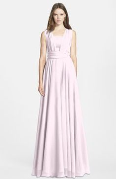 Blush Simple Wide Square Sleeveless Zip up Chiffon Floor Length Bridesmaid Dresses