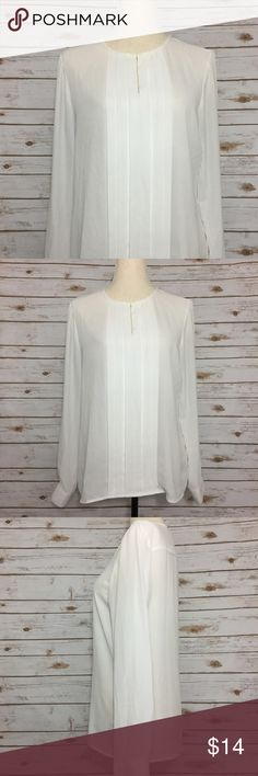 Sami + Jo White Sheer Keyhole Pleated Blouse Sami + Jo. Size Medium. White. Long Sleeve. Sheer. Pleated front. Keyhole neckline with closure. Wrist mirror buttons. See photographs for measurements. Item modeled by size Medium dress form. Good Preowned Condition. Sami + Jo Tops Blouses