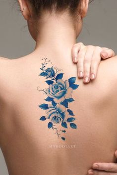 Cute traditional watercolor blue floral flower back temporary tattoo ideas for women - ideas de tatuaje Cover Up Tattoos, Foot Tattoos, Cute Tattoos, Unique Tattoos, Beautiful Tattoos, Body Art Tattoos, Small Tattoos, Spine Tattoos, Tattoo Back Women