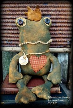 Primitive Folk Art Handcrafted Frog Doll--Fitzgerald the Frog Prince-Farmhouse, Vintage, Art Doll, Whimsical, Hafair team, FAAP