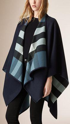 Slate blue Check-Lined Wool Wrap - $895