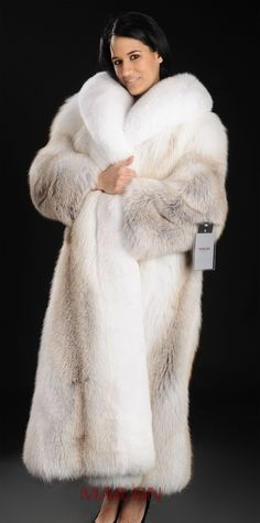 SAGA ROYAL Golden Island Shadow Full Length Fox Fur Coat with White Fox Collar and Tuxedo