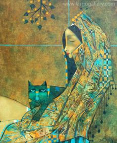 "Peter Mitchev, ""Dreaming with green cat"", oil, canvas, 60/50 http://www.largogallery.com/"