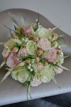 David Austin Roses, Avalanche Roses, Lily of the Valley, Astilbe and Fern brides bouquet.