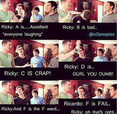 Ricky Dillon's grading scale. I don't really like that Ricardo's in this but oh well