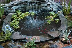 Decorations, Interesting Gray White Ornate Rock With Gorgeous Green Nature Garden Also Great Green Backyard Pond: Innovative Backyard Pond D...