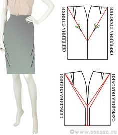 Russian site that shows various fitting problems (wrinkles are marked on illustrations) and how to fix the pattern to correct it. Techniques Couture, Sewing Techniques, Skirt Patterns Sewing, Clothing Patterns, Sewing Clothes, Diy Clothes, Sewing Alterations, Modelista, Sewing Lessons