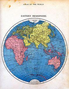 Vintage map printable via Graphics Fairy