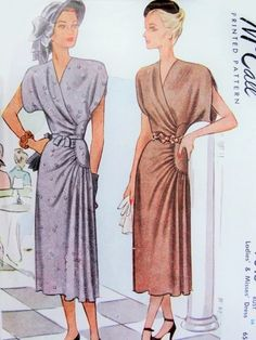 1940s Beautiful Dinner Cocktail Party Dress Pattern McCall 7046 Surplice V Neckline Striking Side Curved Drape Bust 36 Vintage Sewing Pattern