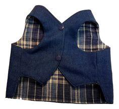 Denim and Blue Plaid Dog Vest, Dog Pattern, Blue Plaid, Denim, How To Wear, Jackets, Craft Ideas, Products, Fashion