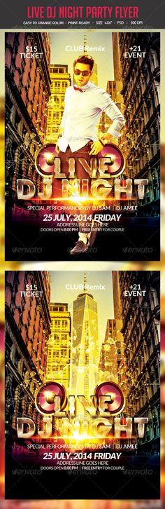 Live Dj Night Party Flyer PSD Template | Buy and Download: http://graphicriver.net/item/live-dj-night-party-flyer/8543305?WT.ac=category_thumb&WT.z_author=studiorgb&ref=ksioks