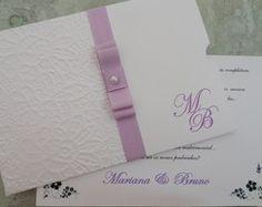 Convite Casamento Artesanal Lilás