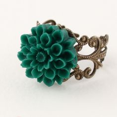 Stunning Silver Ring with Turquoise Flower