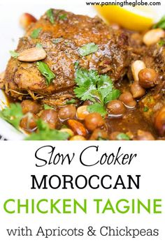 This elegant Moroccan Chicken Tagine recipe is perfect for the slow cooker. The chicken tenderizes as it absorbs the fragrant North African spices. There's plenty of sauce and chickpeas to spoon over the chicken and a bed of rice or couscous. Moroccan Chicken Tagine Recipe, Slow Cooker Moroccan Chicken, Slow Cooker Recipes, Cooking Recipes, Healthy Recipes, Crockpot Recipes, Cooking 101, Easy Recipes, Moroccan Dishes