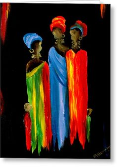 African Women Painting - by Marietjie Henning African Art Paintings, African Artwork, Caribbean Art, Africa Art, Black Artwork, Abstract Drawings, Texture Art, Tribal Art, Painting Inspiration