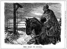 """""""The Road To Russia."""" Cartoon by Bernard Partridge. Published in Punch 7th October 1914."""