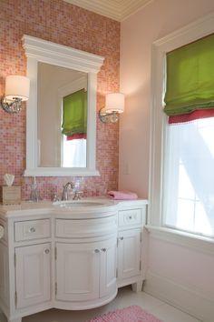 Feminine Mosaic Tiled Backsplash Covering White Themed Bathroom Vanity Designed With Mounted Facade \u273f \u273f