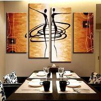 Chegada! Figuras de arte da lona pintura a óleo abstrata moderna pintura a óleo decoração ouro AB4009