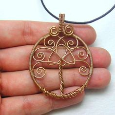 Bronze Celtic Tree of Life Pendant Necklace by AnnaWireJewelry