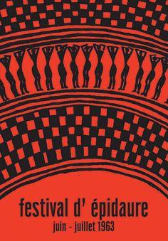 Greece, Epidavros Festival , by Michalis Katzourakis Otl Aicher, Greek Tragedy, Design Art, Graphic Design, Black Image, My Land, Vintage Travel Posters, Best Graphics, Athens