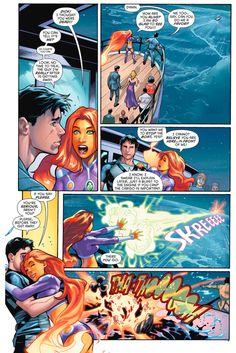 Starfire learns Dick Grayson is still alive - Dick Grayson & Starfire- Starfire Robin Starfire, Nightwing And Starfire, Jason Todd, Comic Movies, Comic Books, Drake, Dc Comics Characters, Batman Family, Couple Cartoon