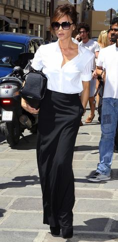 black maxi skirt with white shirt. It's not often I'll give VB kudos but this is amazing