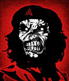 Eddie Che Guevara by croatian-crusader on DeviantArt Iron Maiden Mascot, Eddie The Head, Iron Maiden Band, Che Guevara, Dark Artwork, Rock And Roll Bands, Line Illustration, Photoshop Cs5, Silver Surfer