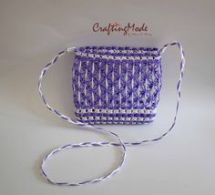 Bag,Macrame,Weaving ,Rope,Handmade, Purple & White  color, ,Handbag,Tote,Natural,Women's bag.Purse,Gift ,Shoulder bag,Crossbody bag by CraftingMode on Etsy