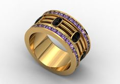 14k Yellow Gold Classic Engagement or Wedding Band with Black Diamonds and Amethysts