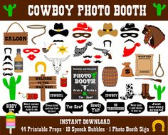 Cowboy Photo Booth Props–55 Pieces(44 Props,10 Speech Bubbles,1 Photo Booth Sign)-Wild West Photo Booth–Western Photo Props-Instant Download