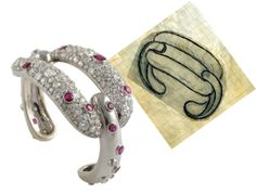 Suzanne Belperron ruby and diamond cuff, the intricate chain links are my newest obsession~