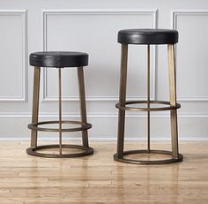 Brass and Black Modern Bar Stools. Aged brass and black leather  | LUXE FOR LESS CANADA