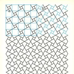 geometric patterns. The part at the top right shows the particularly ingenuity of the same grid, flipped and rotated.