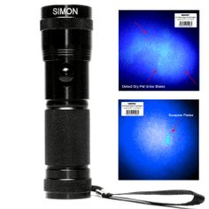 UV Blacklight detects DRY #caturine from carpets, rugs, drapes and floors which the human eye cannot see in day light. This #UVblacklight flashlight is also known as our #scorpionflashlight. http://simonflashlights.com/product/pet-urine-uv-blacklight-flashlight/ Just $19.99